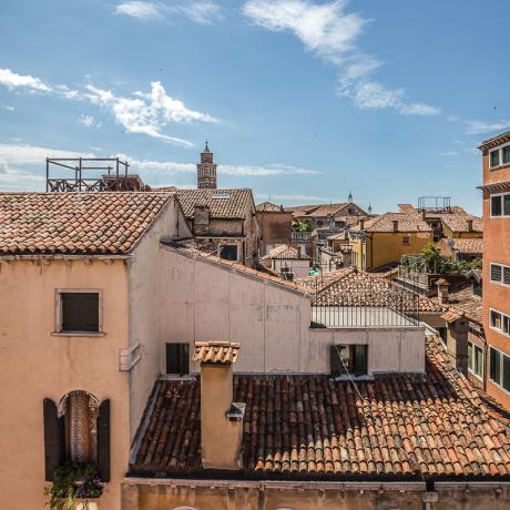 View over rooftops from Ca' dell'Angelo apartment