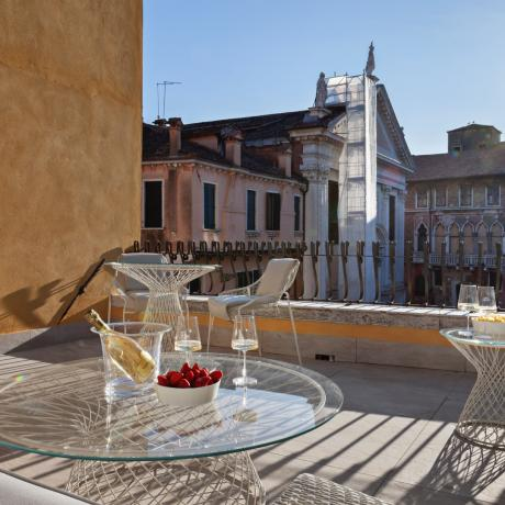 The sunny terrace at Santa Fosca apartment