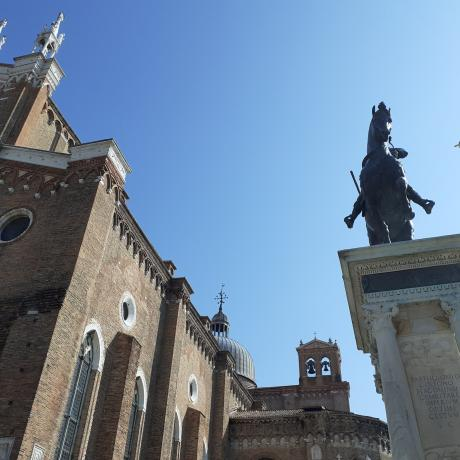 SS Giovanni e Paolo church and the Colleoni statue in Venice, Italy
