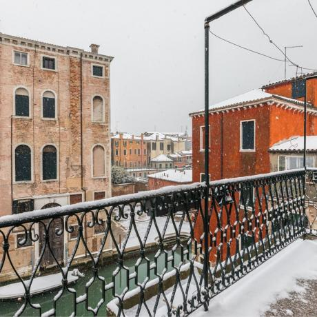 The balcony and the view in the winter