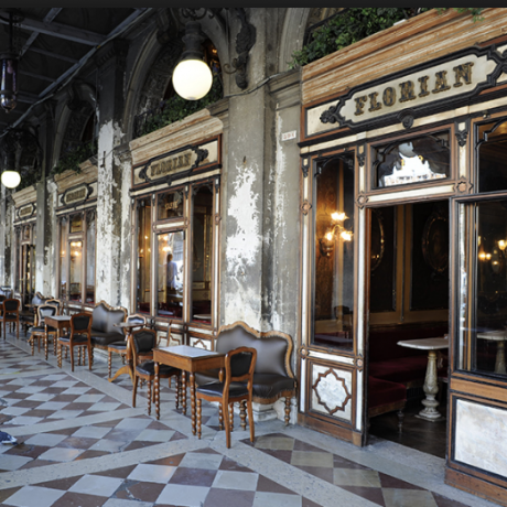 The beautiful caffé Florian in Saint-Mark's square, Venice